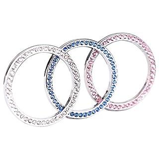 TrifyCor Kfz-Starthilfeknopf Startknopf Ring Kristall Zubehör für Auto-Dekoration Strasssteine (Blau+Rosa+Weiß) 3 Stück