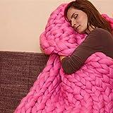 Beautyjourney Couverture Chauffante EsthéTique Main Chunky Tricot Couverture éPaisse Laine MéRinos Tricot 80X100cm (Rose Vif)