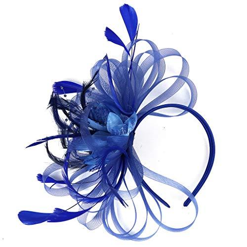 Accessoires Braut Kopfschmuck Haar Clip Hut Feder Haarschmuck Kopfbedeckung für Party Kirche Hochzeit Cocktail Jockey Club (Freiheit, Blau) ()