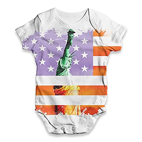 Twisted Envy Baby Unisex Statue of Liberty American Flag ALL-OVER PRINT Bodysuit Baby Grow Baby Romper 18 - 24 Months