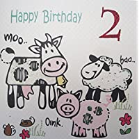 WHITE COTTON CARDS Happy, Handmade 2nd Birthday Card (Cow, Age 2)
