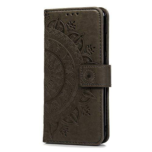 Funda Xiaomi Redmi 5 Plus, Carcasa Libro Piel de Cuero con Tapa Flip Case, Cover PU Leather Con TPU Case Interna Suave, Soporte Plegable, Ranuras para Tarjetas y Billetera Atrapasueños Color Gris