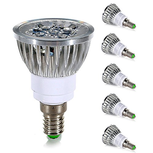 GreenSun 5 Stück E14 4W LED Spots Lampe Warmweiß 2700K Ersetzt 30W Gluhlampe Leuchtmittel 100% Aluminum Reflektor Gehäuse LED Strahler AC 220V