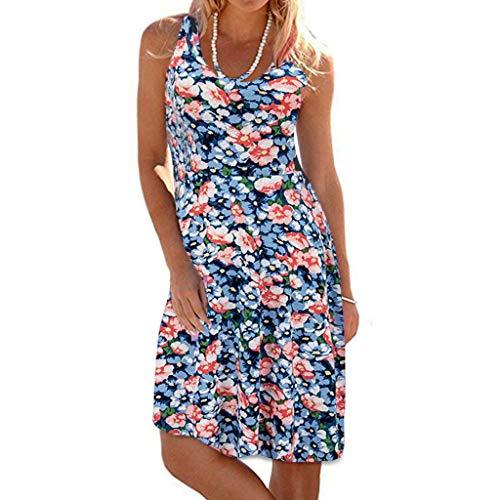 TIFIY Sommerkleid Damen,Elegante Ärmelloser O-Hals Maxi Tank Dress drucken Lässiges Blumenmuster Strand - Disney Zero Kostüm