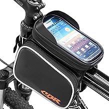 """Bolsa de Ciclismo, Wrcibo Bolso de Bicicleta con Bolsa Transparente y Táctil para Poner adelante (pantalla tamaño ≤ 6.2 """" Smartphone) (Negro)"""