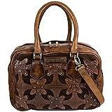 Taschendieb Wien Leder Bowling Bag Tasche Handtasche Schultertasche Handbag TD0707, Farbe:Nougat