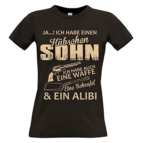Damen T-Shirt Modell: Hübscher Sohn 01 - schwarz
