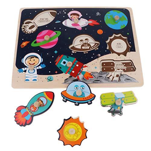 B Blesiya Holzpuzzle - Steckpuzzle - Kinder Pädagogisches Spielzeug - 22x33cm - Luftfahrt