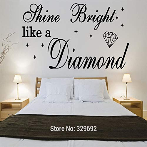 Shine Bright Like A Diamond Rihanna Vinyl Wandkunst Zitat Wandaufkleber Song Lyrics Home Deca 58x110cm (Rihanna Lyrics Von Die)
