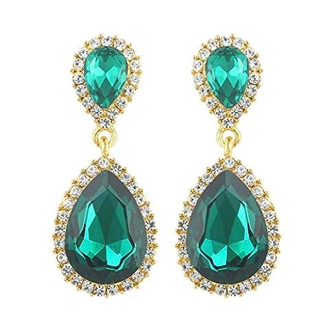 EVER FAITH® österreichische Kristall Ohrringe elegant Träne Form - Grün-Gold-Ton N04417-7 (Grüne Braut Schmuck)