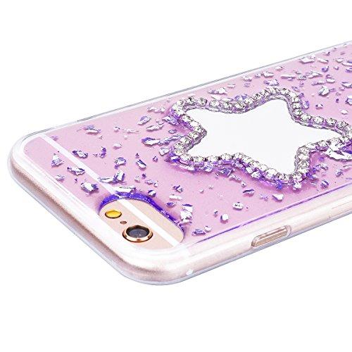 Custodia iPhone 6 / iPhone 6S, VemMore Case di Specchio Stella Morbido Trasparente Silicone TPU Cover con 3D Diamante Luccichio Strass Patterned Design Caso Backcase del Ultra Sottile Bling Sparkly Sc Porpora