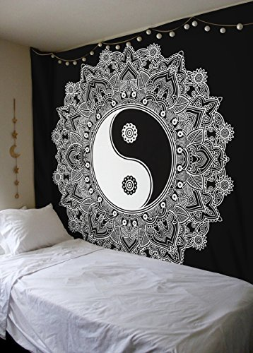 Floral Twin Tröster Set (Schwarz und Weiß Tapisserie, YinYang Wandteppichen Wandteppich, Mandala, traditionelle indische Baumwolle gedruckt Bohemian Hippie groß Wand Kunst von sheetkart)