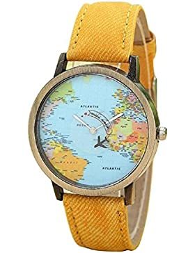 ★ Loveso ★-Armband uhr Elegant Global Travel Mit dem Flugzeug Map-Frauen-Kleid-Uhr-Denim-Gewebe-Band_Gelb