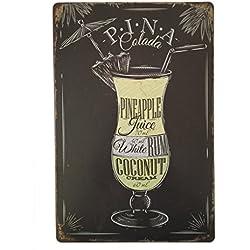 Pina Colada Tin Sign–Placa metálica diseño Retro Vintage para pared 20x 30cm decorativo–ideal para Pub bar Office Hogar Dormitorio Comedor Cocina–Cool Classic Shabby Chic de regalo presente