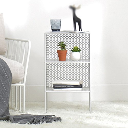 Shelves Home Wohnzimmer im europäischen Stil 3-stöckiger Boden Schmiedeeisen Regal Regal Nachtschränke Schlafzimmer Regalgröße 35 * 30 * 62cm Regal (Color : White)