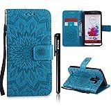 LG G3 Hülle Leder,LG G3 Flip Case,BtDuck Blume Tasche mit Magnetverschluss, Kartenfach Stand Cover für LG G3 Wallet - Blau