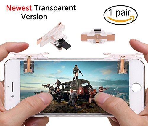 Mobile Game Controller [10.0Neueste Upgrade] empfindliche Shoot und transparent Ziel Schlüssel L1R1Shooter Joysticks Ziel Knöpfe für pubg , passt für 11,4-16,5cm Android iOS Handys (1Paar) weiß durchsichtig (Ziel 10)