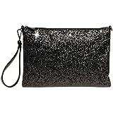 CASPAR TA341 große Damen XL Glitzer Pailletten Clutch Tasche Abendtasche mit Handschlaufe, Farbe:schwarz;Größe:One Size