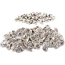 CLE DE TOUS - 100 piezas 10x10mm diamantes de imitacion cristal Remache Color Plateado Crystal RIVET