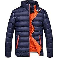 Malloom Hombres Color Mezclado Acolchada de Outwear Abrigo Anorak Invierno Chaqueta Abajo Abrigo Acolchado