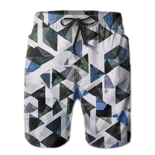KYEW WU OWEDR Beach Shorts Abstract Multicolor Triangle Man Quick-Drying Swim Trunks Holiday Board Pants (Color Multi Abstract)