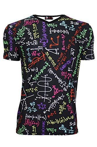 Mathematik Formeln Tafel Schule Bedruckt Herren V-Ausschnitt T-Shirt Gr. Large, Black & Multi
