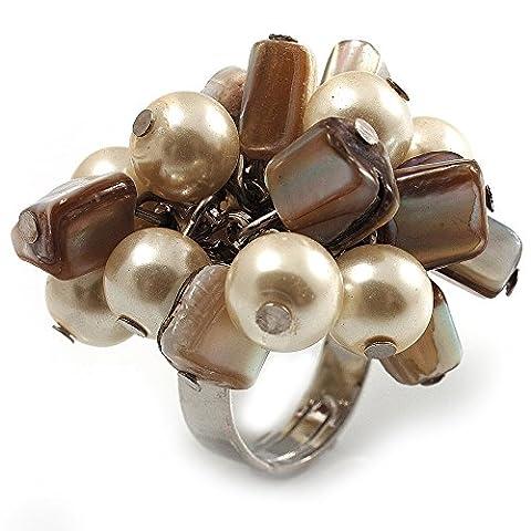 &Grappe Composé Coquillage Fausses perles Argenté Bague Antique Crème &Blanc)