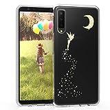 kwmobile Funda para Samsung Galaxy A7 (2018) - Carcasa Protectora de [TPU] con diseño de Hada Brillante en [Dorado/Transparente]
