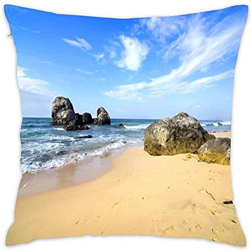DayToy Coast Stones Waves Himmel Sand Crag Beach Square Kissenbezug Kissenbezug mit verstecktem Reißverschluss für die Küche zu Hause