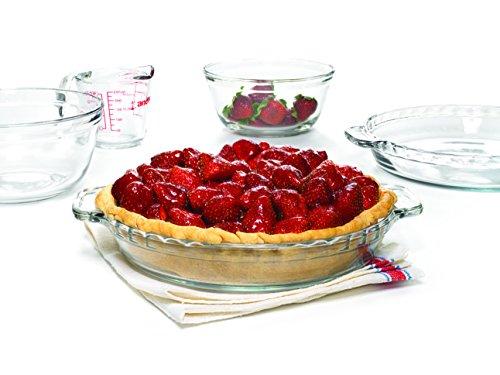 Anchor Hocking Oven Basics Glas-Backgeschirr-Set mit Auflaufform, Tortenteller, Messbecher, Rührschüssel, Puddingbecher mit Deckel 5-Piece Set farblos Anchor Hocking Dessert