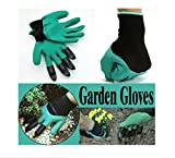 #8: MosQuick® -1 Pair Rubber Garden Gloves for Digging , Planting , Garden work with 4 ABS plastic claws Green & Black Color