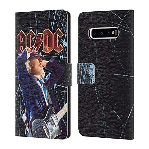 Head Case Designs Offizielle AC/DC ACDC Angus Young Solo Brieftasche Handyhülle aus Leder für Samsung Galaxy S10+ / S10 Plus