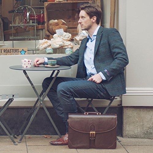 Maxwell Scott Bags® PERSONNALISABLE! Cartable Cuir Homme 3 Soufflets Noir (Tomacelli3) Marron Foncé