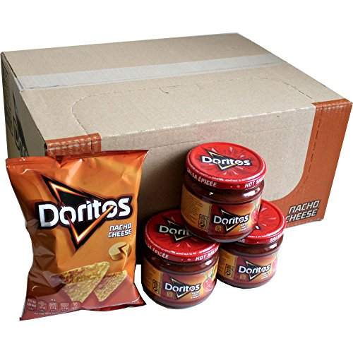 Doritos Nacho Chips Nacho Cheese 20 x 44g & Doritos Nacho Dip Sauce Hot Salsa 3 x 326g Glas