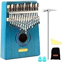 Kalimba 17 Key Thumb Piano Incluye kit de afinación Martillo e instrucción de estudio y partituras sencillas Adecuado para niños Adultos principiantes, profesionales: regalo perfecto de Navidad (Azul)