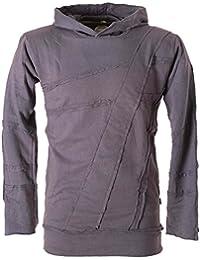 Vishes – Alternative Bekleidung – Herren Hoodie Kapuzenpullover mit Patchwork Applikationen