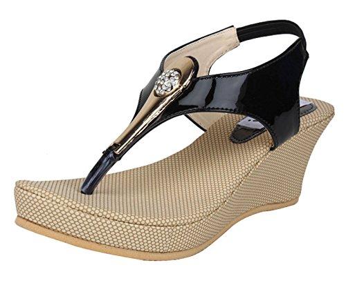 Digni la mode plate-forme casual coin de glissement des femmes sur les sandales Beige avec noir