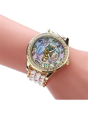 Sunnywill Strick Seil Kette Winding Analog Quartz Uhrwerk Armbanduhr (White)