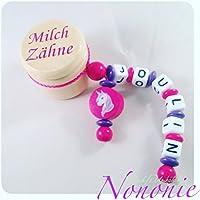Milchzahndöschen mit Namen und Einhörn - lila, pink