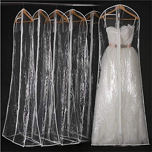 W-D Hochzeitskleid Hochzeitskleid Kleiderhülle Taschen - Lange Kleiderhülle Staubdichte Kleiderhülle Aufbewahrungstasche, 10Er-Set Elegantes Abendkleid, klar, 160x58x80cm