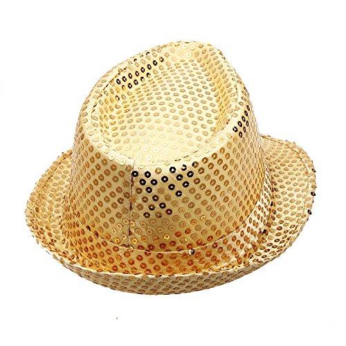 UJUNAOR Unisex Jazz Hut Jazzhutes Pailletten-Kappe Tanz Caps Show Aufführungs Hüte(Gold)