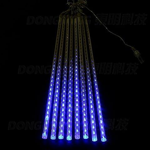 zofei® LED cordes Ensemble/8pièces Multicolore 50cm coloré Meteor de douche pluie imperméable clair tube de vacances de Noël Arbre de Noël Fête Décoration Intérieur ou Extérieur Lumière bleu