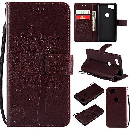 Artfeel Flip Wallet Case for Google Pixel 2, Google Pixel 2 PU Leather Brown Case Embossed Tree Butterfly Flower Pattern,Book Style with Card Slots Magnetic Closure Stand Cover