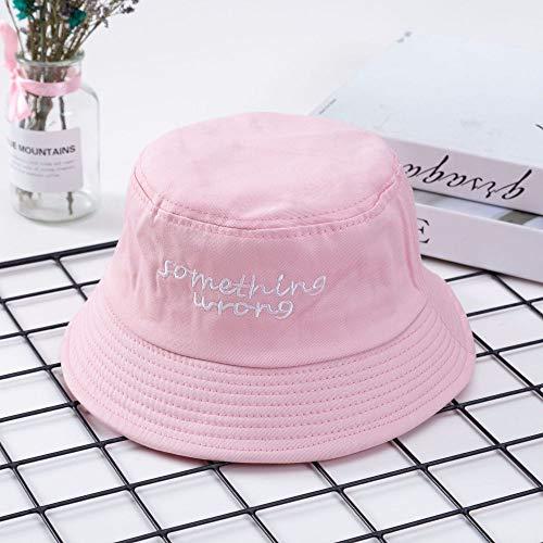hat-maihef 2019 Neue Fischer Hut koreanische Version des Wilden Buchstaben Stickerei Becken Hut japanischen Sonnencreme Outdoor-Visier Englisch rosa M (56-58 cm)