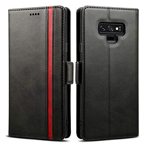 Rssviss Galaxy Note 9 Hülle, Premium Handyhülle Samsung Galaxy Note 9 Ledertasche Flip Case Schutzhülle Brieftasche Etui für Samsung Note 9 Handyhülle,6.4 Zoll,Schwarz (W5)