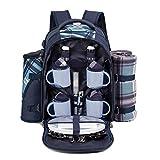Eono Essentials 4 Person Picnic Backpack Hamper Cooler Bag with Tableware Set & Blanket ...