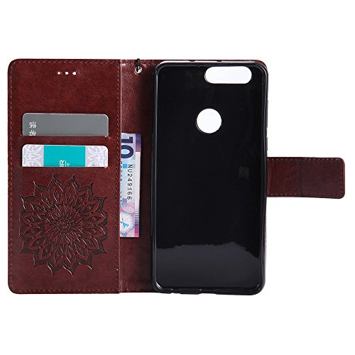 Für Huawei Hornor 8 Fall, Prägen Sonnenblume Magnetic Pattern Premium Soft PU Leder Brieftasche Stand Case Cover mit Lanyard & Halter & Card Slots ( Color : Brown ) Brown