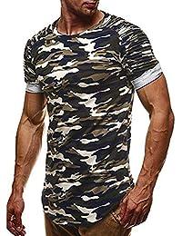 Camiseta De Manga Corta De Los Hombres De Moda O Cuello Clásico Blusas Camuflaje Oversize Camisas