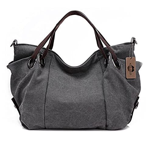 KISS GOLD(TM) Women's Canvas Hobo Top-handle Bag Crossbody Shoulder Bag, European Style, Grey