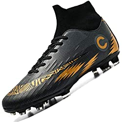 Donbest Chaussures de Football Homme Spike Crampons High Top Professionnel Chaussure de Foot Antidérapant pour garçon